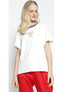 "Camiseta ""Forget Your Troubles And Dance"" - Off White & Colcci"