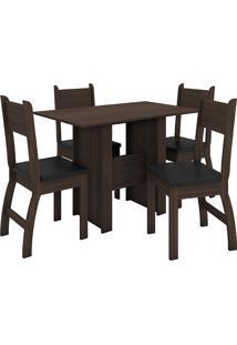 Conjunto De Mesa E 4 Cadeiras Para Sala De Jantar Milano Fosco-Poliman - Amendoa / Preto