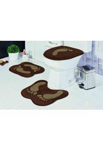 Tapete Jogo Banheiro Formato Pegada Café Guga Tapetes