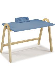 Escrivaninha Com Porta Objetos Ringo 1031 Natural/Azul Serenata - Maxima