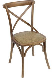 Cadeira Cross- Madeira Escura & Bege- 89X55X49Cmor Design