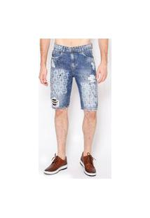 Bermuda Masculina Jeans Destroyed Card