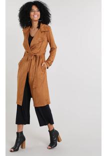 Casaco Trench Coat Feminino Em Suede Caramelo