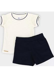 Conjunto Infantil Pulla Bulla Cotton E Tela Short Moletinho Feminino - Feminino-Creme