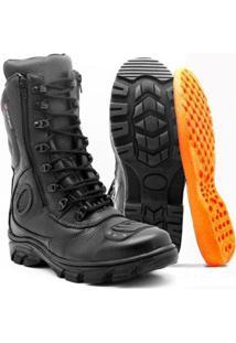 Bota Motociclista Atron Shoes Cano Alto - Masculino-Preto