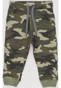 Calça Infantil Estampada Camuflada Com Bolsos Verde Militar