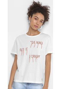 Camiseta Cantão Bordada Feminina - Feminino-Off White