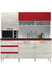 Cozinha Compacta 04 Portas Florença Branco/Aspen/Vermelho - Mpdecor