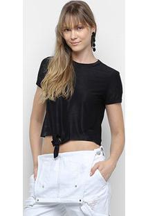 Camiseta Calvin Klein Nó Feminina - Feminino-Preto
