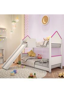 Beliche Infantil Casa Adesivada Branca E Rosa Com Escorregador Casah - Rosa - Menina - Dafiti
