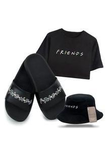 Chinelo Slide E Camiseta Cropped Com Chapéu Bucket Preto Personalizado Série Friends