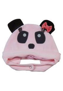 Enxoval Baby Ano Zero Touca Panda Rosa