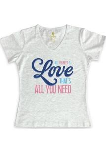 Camiseta Gola V Cool Tees All You Need Feminina - Feminino-Mescla Claro