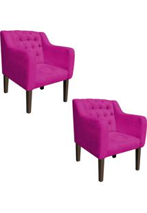 Kit 02 Poltrona Decorativa Lisa Suede Pink - D'Rossi