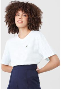 Camiseta Lacoste Listrada Off-White/Verde
