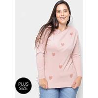 d50ea4290d Suéter Tricot City Lady Plus Size Coração Feminino - Feminino-Rosa