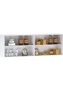 Armário Aéreo De Cozinha 4 Portas Branco Preto Brilho – Ajl