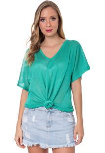 Camiseta Myah Flávia Verde Menta Nó Tricô