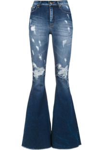 Amapô Calça Jeans Super Flare 'Maine' - Azul