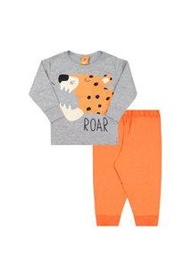 Pijama Bebê Masculino Meia Malha Camiseta Manga Longa Tigre E Calça Laranja (1/2/3) - Gueda Kids - Tamanho 3 - Laranja,Mescla