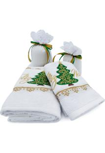 Kit Toalha De Rosto Toalha Lavabo E Sachê Perfumado Natal - Appel - Pinheiro - Branco