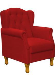 Poltrona Decorativa Para Sala De Estar Lyam Decor Yara Suede Vermelho