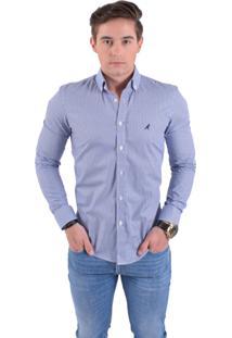 bda6f20ffb Camisa Social Horus Slim Xadrez Azul Aço