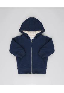 Jaqueta Infantil Texturizada Com Capuz E Pelo Azul Marinho