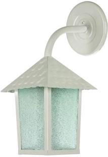 Arandela Colonial Quadrada Vidro Pontilhado Com Braço Branco Brilhante - 102900-04 - Blumenau - Blumenau