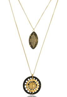 Colar Le Diamond Duplo Com Navete De Cristal Dourado - Dourado - Feminino - Dafiti