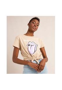Camiseta De Algodão Manga Curta Com Nó Frontal The Rolling Stones Bege