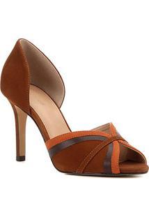 Peep Toe Couro Shoestock Curves Salto Alto - Feminino-Marrom Claro
