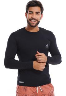 Camisa Uv Masculina Com Proteção Solar Fator 50 Preta Multicolorido