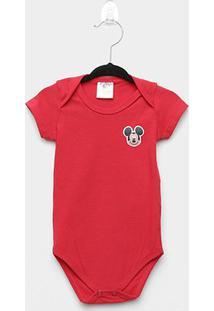 Body Infantil Marlan Básico Mickey Bebê - Masculino-Vermelho