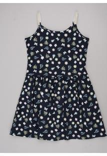 Vestido Infantil Estampado Floral Com Laise Alças Finas Azul Escuro