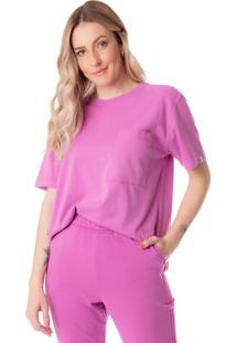 Camiseta Feminina Biamar Com Bolso Rosa - U