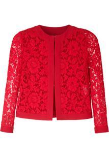 Valentino Jaqueta Renda Com Lã - Vermelho