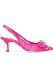 Dolce & Gabbana Sapato Em Renda De Seda - Rosa