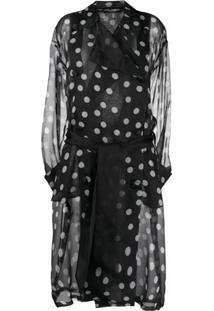 Dolce & Gabbana Trench Coat De Organza Com Poás - Preto
