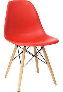 Cadeira Eames Drk- Vermelha & Madeira- 80,5X46,5X42Cor Design