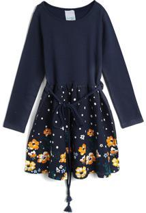 Vestido Malwee Kids Infantil Flores Azul-Marinho/Amarelo - Tricae