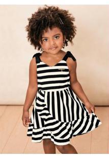 Vestido Preto Listrado Menina