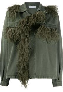 P.A.R.O.S.H. Jaqueta Jeans Com Aplicação De Plumas - Verde