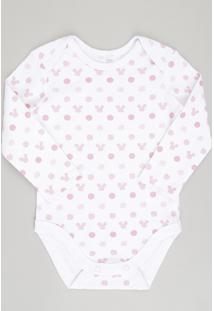 Body Infantil Estampado Minnie Manga Longa Decote Redondo Em Algodão + Sustentável Branco