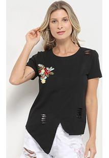 Camiseta Pérola Recorte Aplique Manga Curta Feminina - Feminino-Preto