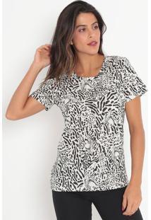 Camiseta Com Pespontos- Branca & Preta- Colccicolcci