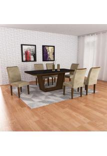 Conjunto De Mesa De Jantar Sofia Com 6 Cadeiras Lunara Suede Preto E Castor