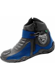 Bota Motoqueiro Cano Curto Em Couro Atron Shoes Preta/Azul