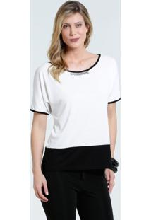 Blusa Feminina High Low Manga Curta Marisa