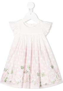 Monnalisa Vestido Evasê Com Estampa De Poás E Rosas - Branco